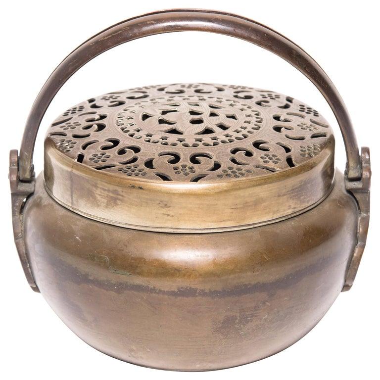 19th Century Chinese Brass Longevity Brazier For Sale