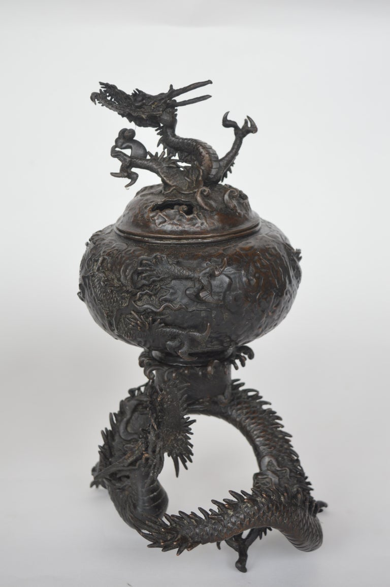 19th Century Chinese Bronze Ensensor Dragons In Good Condition For Sale In Los Angeles, CA