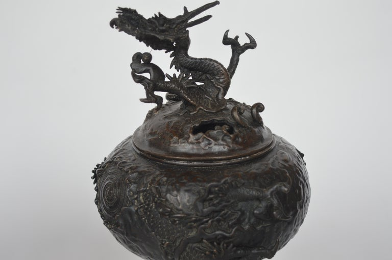 19th Century Chinese Bronze Ensensor Dragons For Sale 2