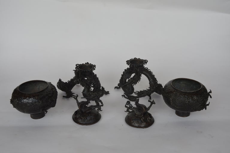 19th Century Chinese Bronze Ensensor Dragons For Sale 6
