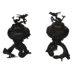 19th Century Chinese Bronze Dragon Incense Burners