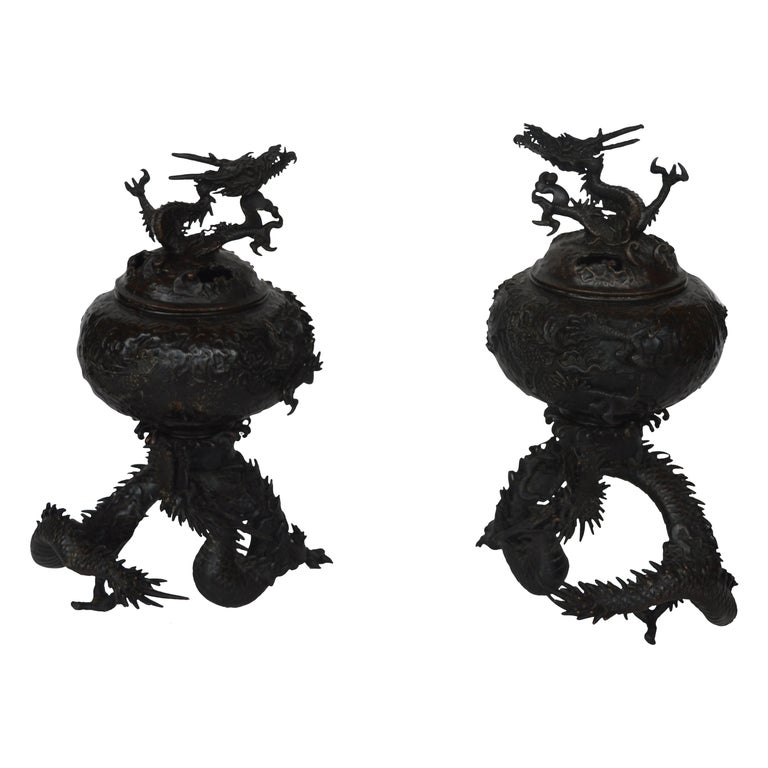 19th Century Chinese Bronze Ensensor Dragons For Sale
