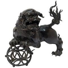 19th Century Chinese Bronze Fu Dog Censer