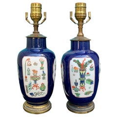 19th Century Chinese Bronze Mounted Blue Porcelain Lamps