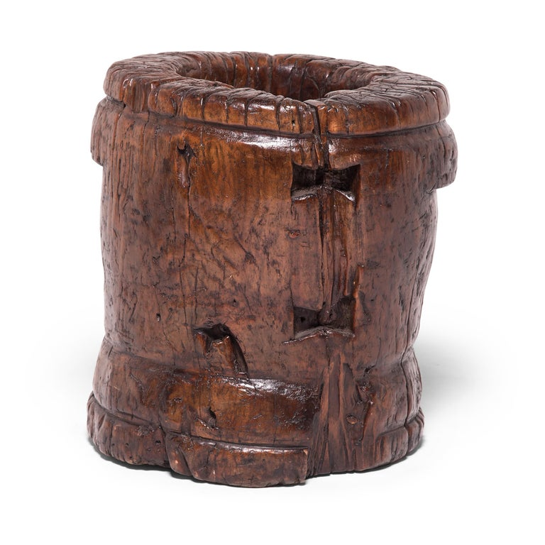 Rustic 19th Century Chinese Butterfly Mortar For Sale