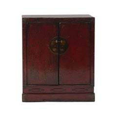 19th Century Chinese Cabinet with Original Red Lacquer