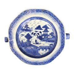 19th Century Chinese Canton Blue and White Plate Warmer