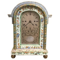 19th Century Chinese Canton Famille Rose Porcelain Clock with English Movement.