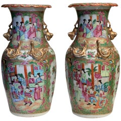 19th Century Chinese Canton Famille Rose Vases