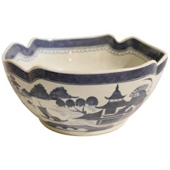 19th Century Chinese Canton Tall Scalloped Bowl