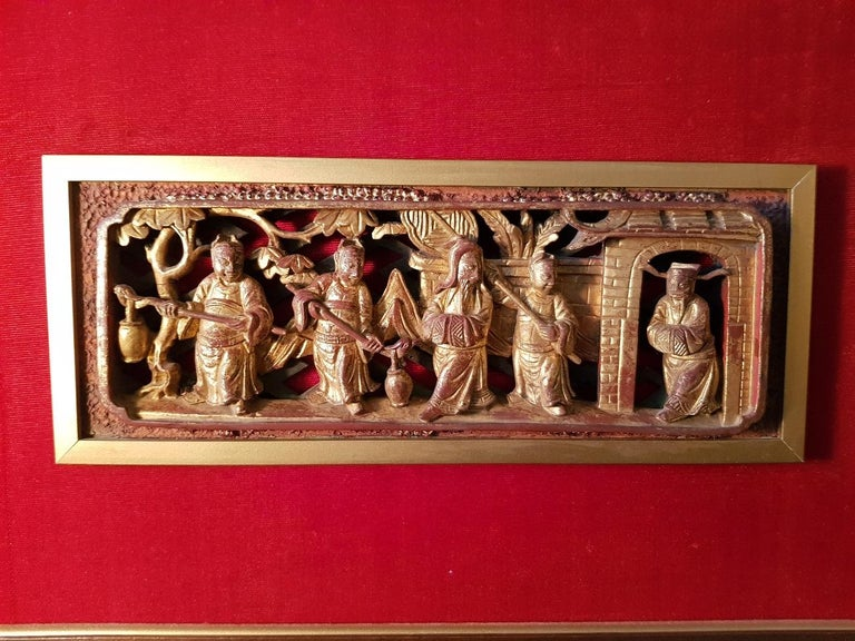 19th Century Chinese Carved Gilded Wooden Panel With Officials