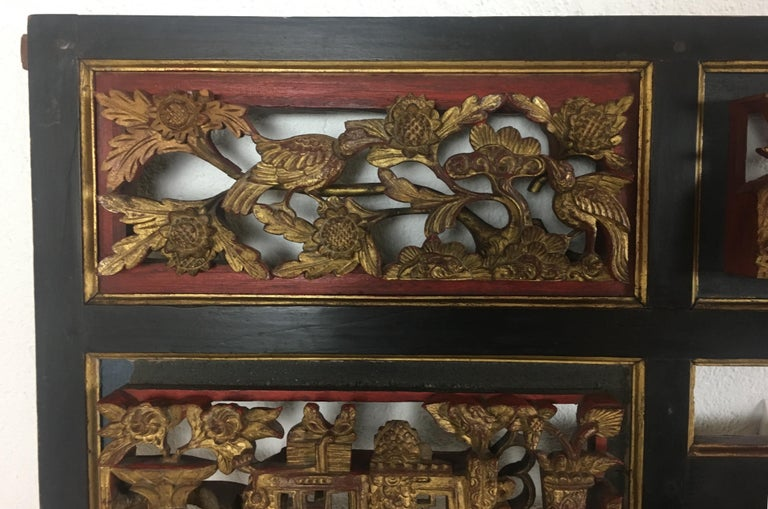 Superb large Chinese hand carved giltwood figural red lacquered panel dating from the 19th century. This was originally part of an antique wedding bed frame.   This exceptionally fine panel is carved in deep relief, three dimensional. Extremely