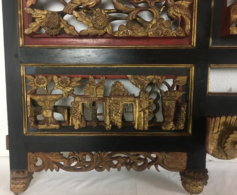 19th Century Chinese Carved Giltwood Figural Phoenix Lacquered Panel For Sale 2