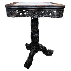 19th Century Chinese Carved Hardwood Center Table with Marble Top
