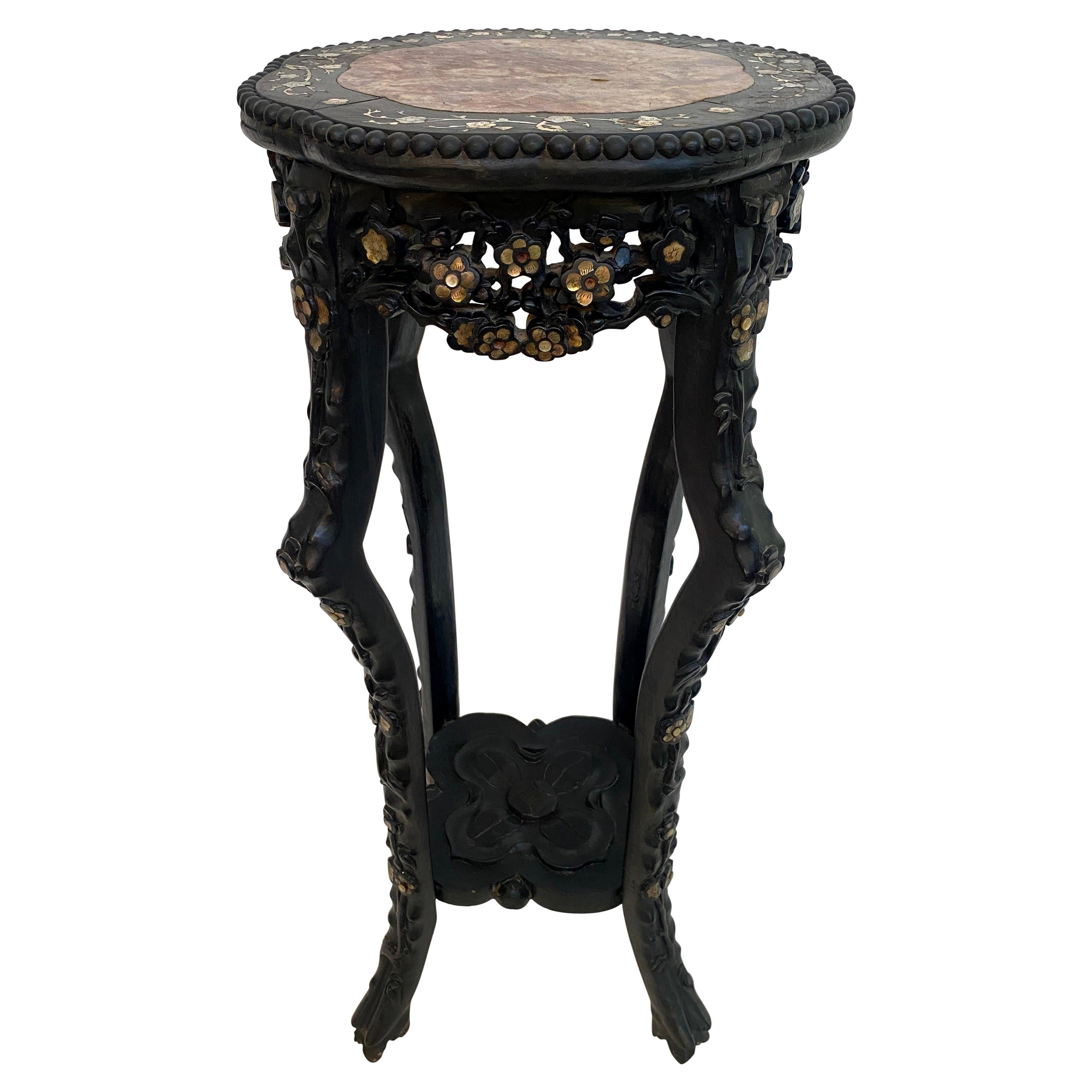 19th Century Chinese Carved Hardwood Flower Stands Marble-Top Insert