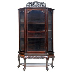19th Century Chinese Carved Hardwood Glazed Display Cabinet