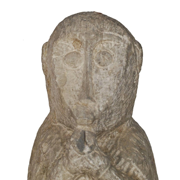 19th Century Chinese Carved Limestone Monkey In Good Condition In Chicago, IL