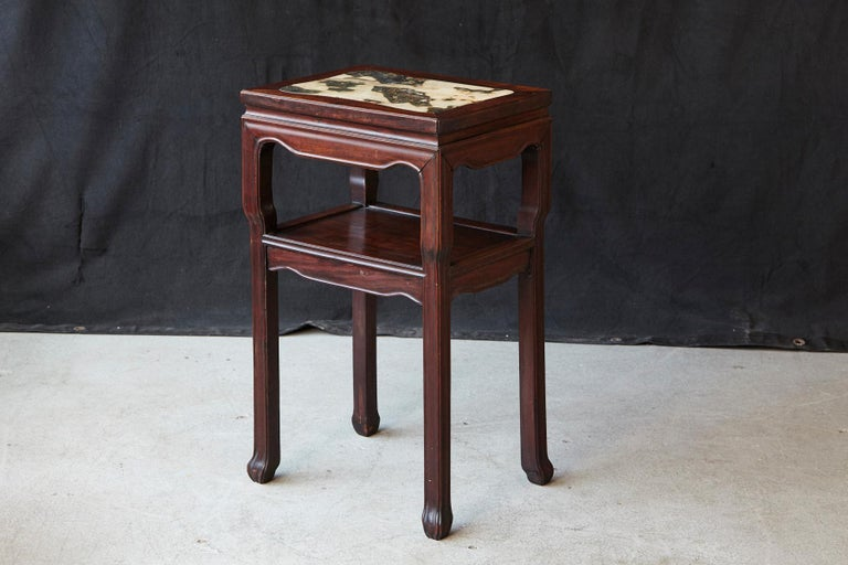 Chinese Export Early 20th Century Chinese Carved Rectangular Hardwood Table with Marble Inset For Sale