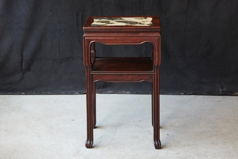 Ebonized Early 20th Century Chinese Carved Rectangular Hardwood Table with Marble Inset For Sale