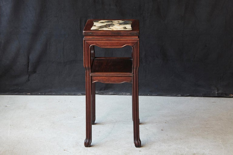 Early 20th Century Chinese Carved Rectangular Hardwood Table with Marble Inset In Good Condition For Sale In Weston, CT