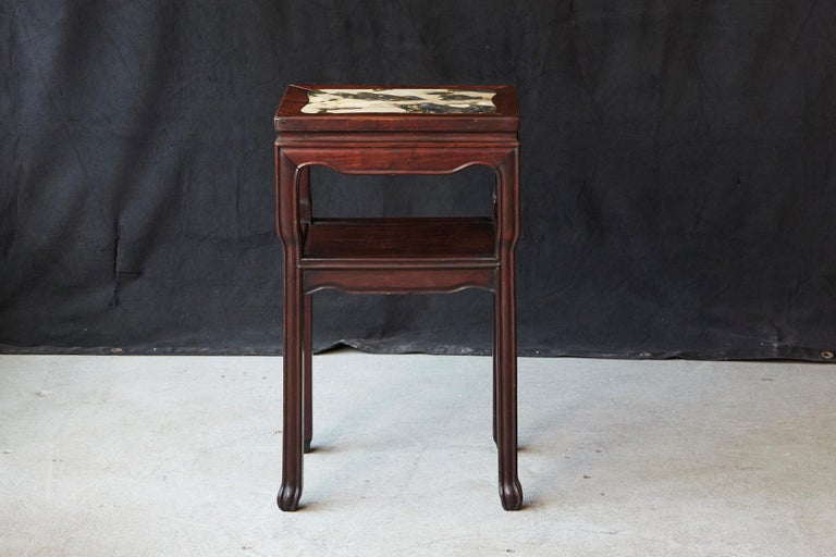 Early 20th Century Chinese Carved Rectangular Hardwood Table with Marble Inset For Sale 1