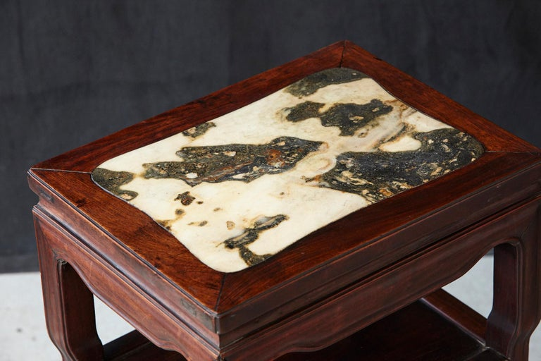 Early 20th Century Chinese Carved Rectangular Hardwood Table with Marble Inset For Sale 2