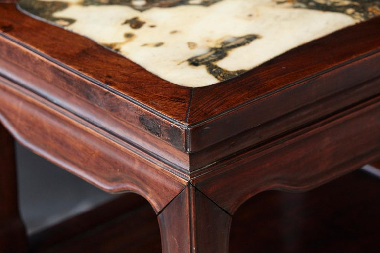 Early 20th Century Chinese Carved Rectangular Hardwood Table with Marble Inset For Sale 3
