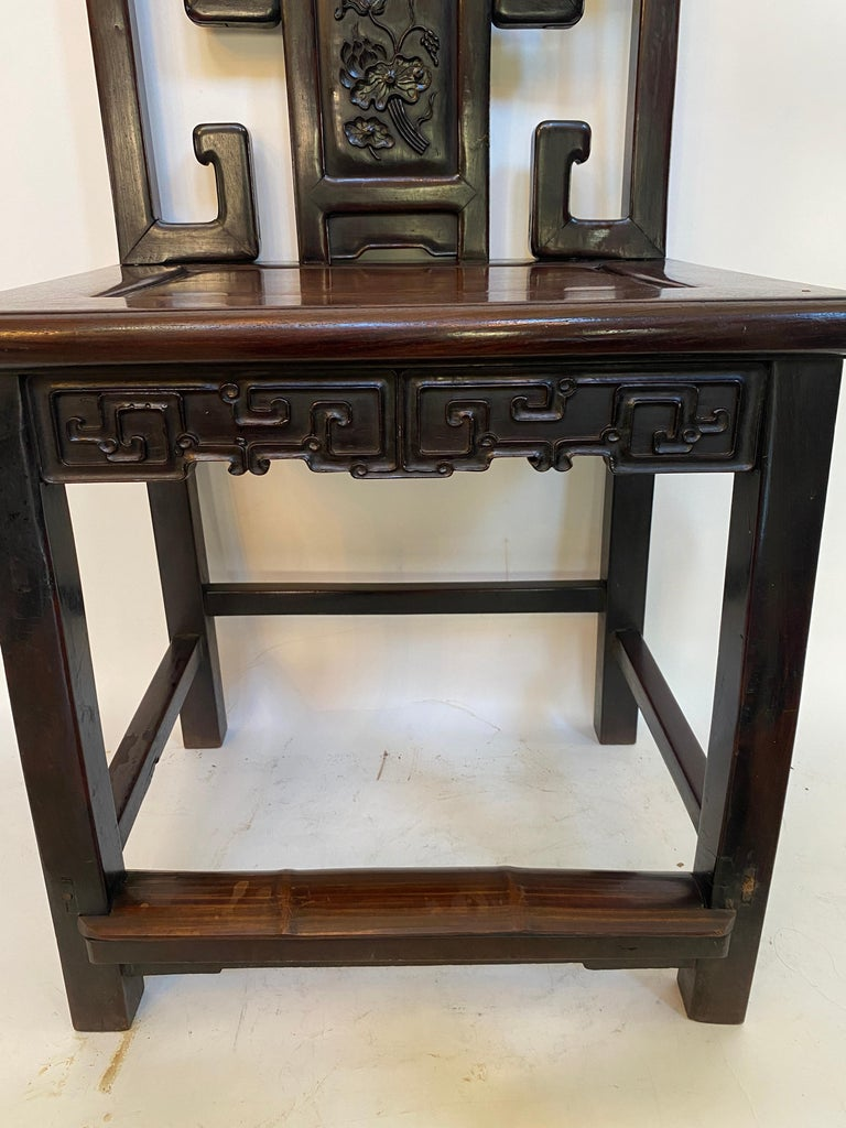 19th Century Chinese Carved Rosewood Chair with Lotus In Good Condition For Sale In Brea, CA