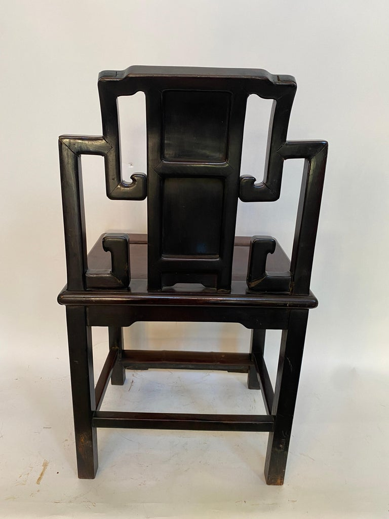 19th Century Chinese Carved Rosewood Chair with Lotus For Sale 2