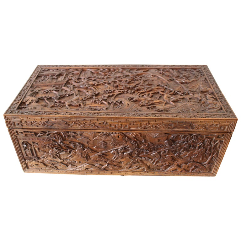 19th Century Chinese Carved Camphor Wood Document Box For Sale