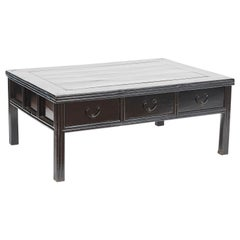 19th Century Chinese Century Coffee Table in Black Lacquer with 6 Drawers