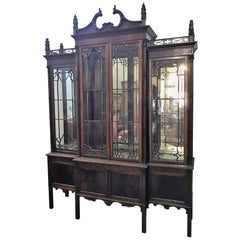 19th Century Chinese Chippendale Breakfront Bookcase