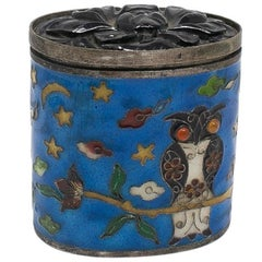 19th Century Chinese Cloisonné Enamel Silver Trinket Box