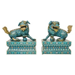 19th Century Chinese Cloisonné Fu Dogs