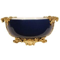 19th Century Chinese Cobalt Blue Porcelain Centerpiece