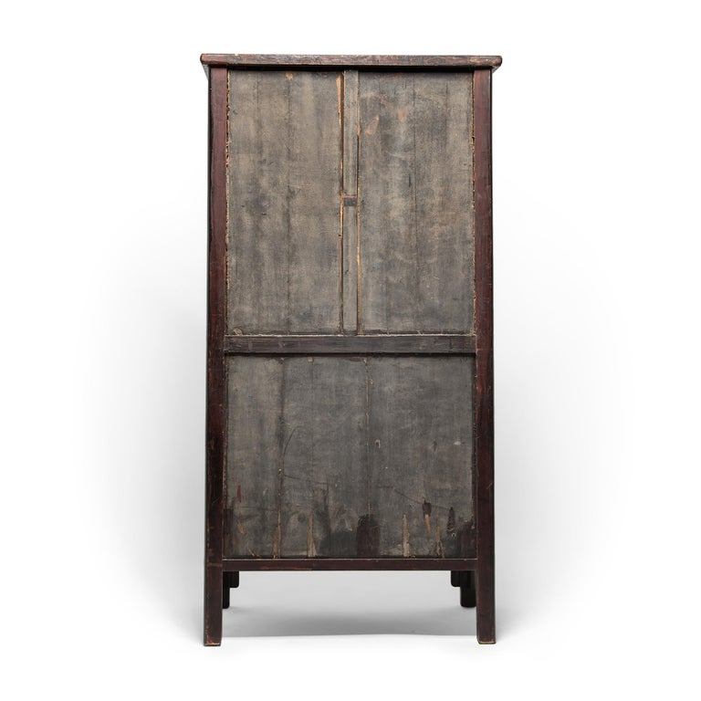 Qing 19th Century Chinese Diamond Lattice Display Cabinet For Sale
