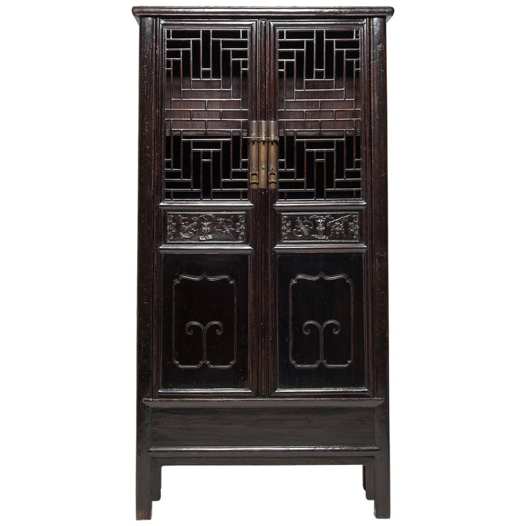 19th Century Chinese Diamond Lattice Display Cabinet For Sale