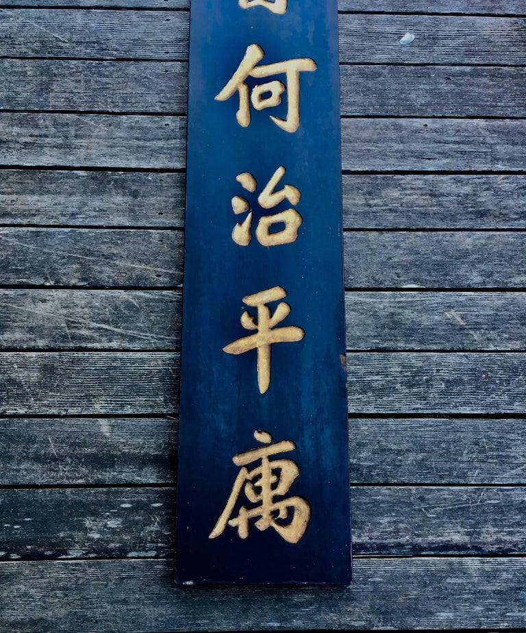 Carved 19th Century Chinese Doctor's Residence Trade Sign For Sale