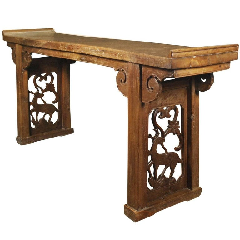 19th Century Chinese Double Deer Plank Top Altar with Everted Ends