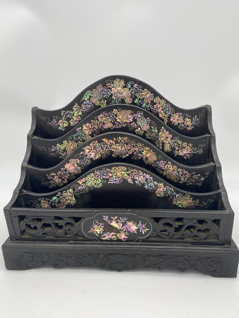 Qing 19th Century Chinese Ebonized Letter Rack with Mother of Pearl For Sale
