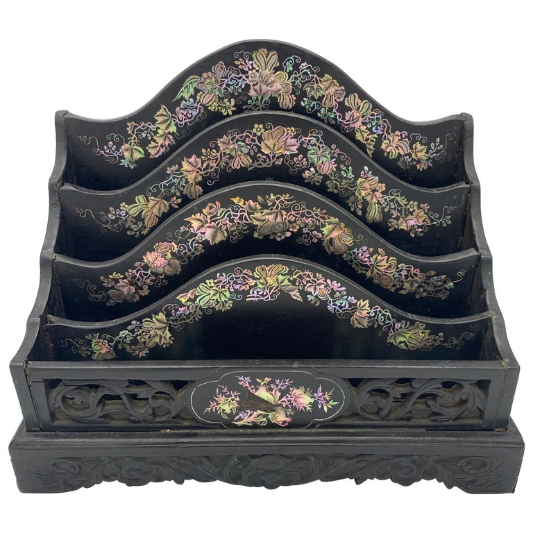19th Century Chinese Ebonized Letter Rack with Mother of Pearl For Sale