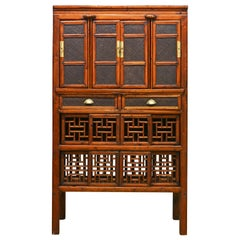 19th Century Chinese Elm and Cane Multi Purpose Kitchen Cabinet