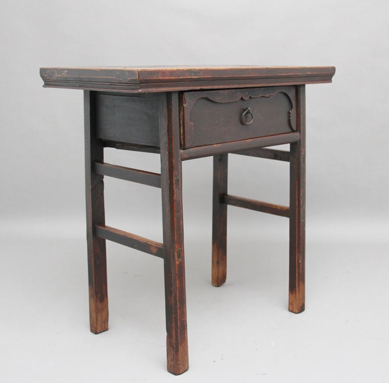 19th Century Chinese Elm Side Table In Good Condition For Sale In Martlesham, GB