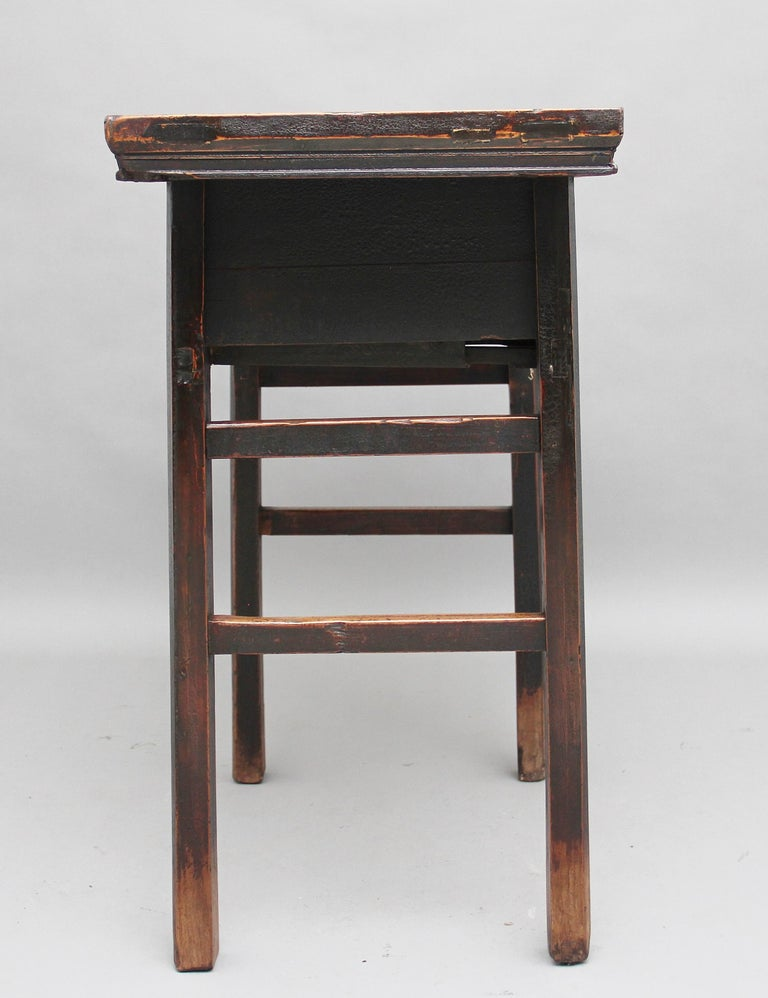 Late 19th Century 19th Century Chinese Elm Side Table For Sale