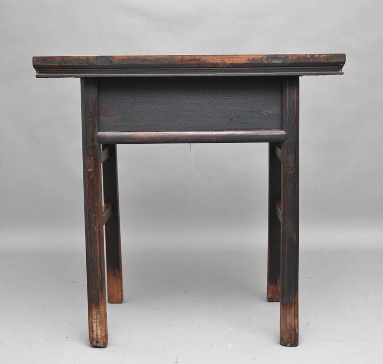 19th Century Chinese Elm Side Table For Sale 1