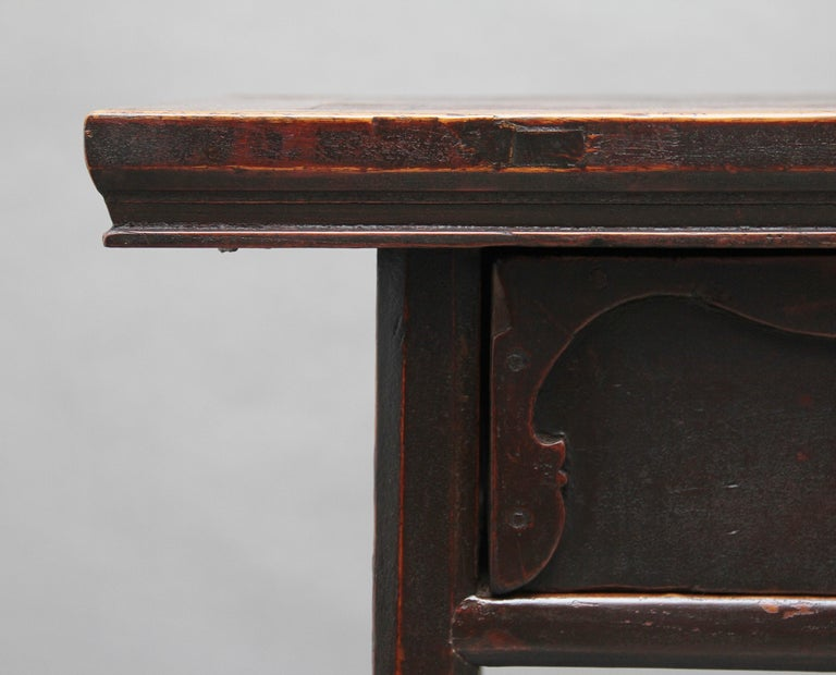 19th Century Chinese Elm Side Table For Sale 4