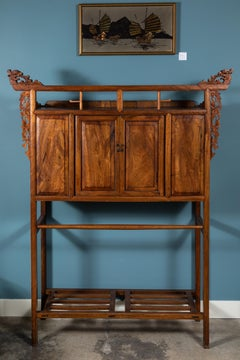 19th Century Chinese Elmwood Standing Coffer with Carved Dragons and Shelf