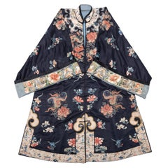 19th Century Chinese Embroidered Silk Ladies Butterfly Short Robe
