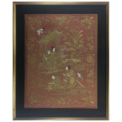 19th Century Chinese Framed Embroidery Silk Tapestry, Wall Hanging