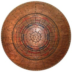 19th Century Chinese Etched Painted Compass Sunburst Medallion